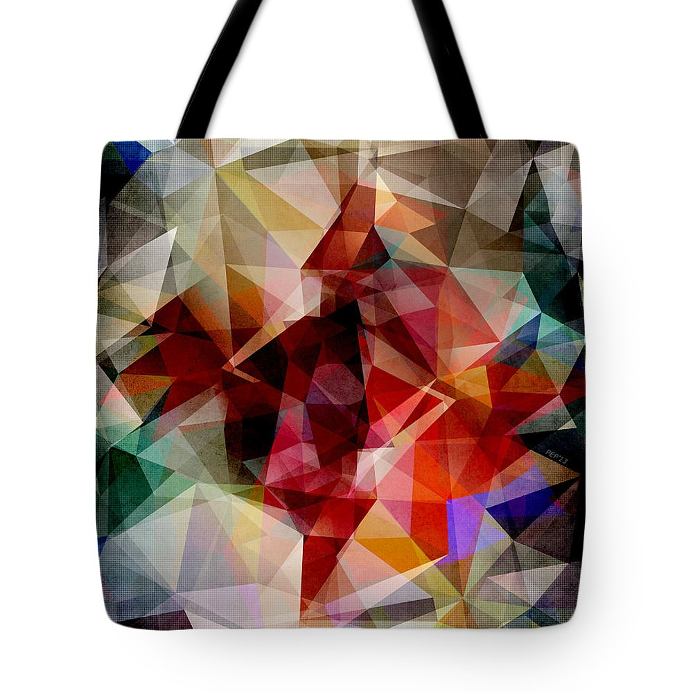 Colorful Tote Bag featuring the digital art Colorful Geometric Abstract by Phil Perkins