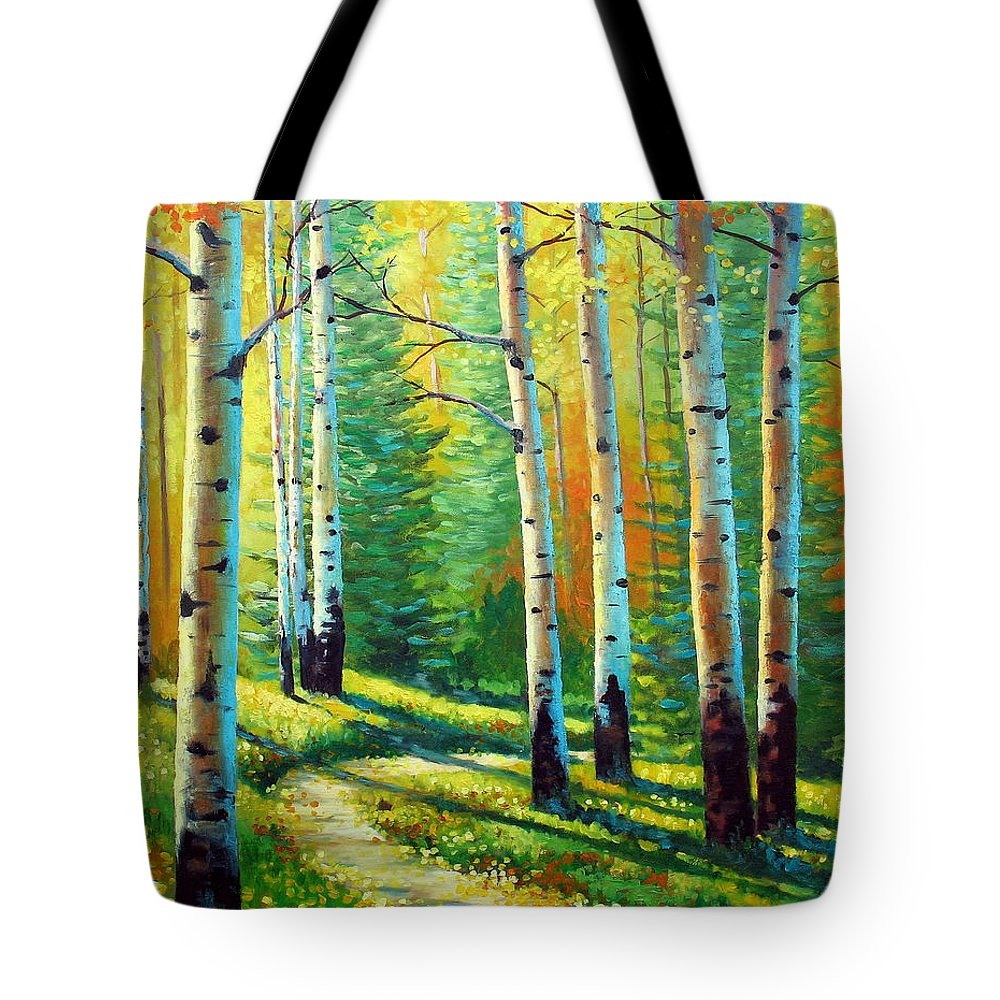 Landscape Tote Bag featuring the painting Colors Of The Season by David G Paul