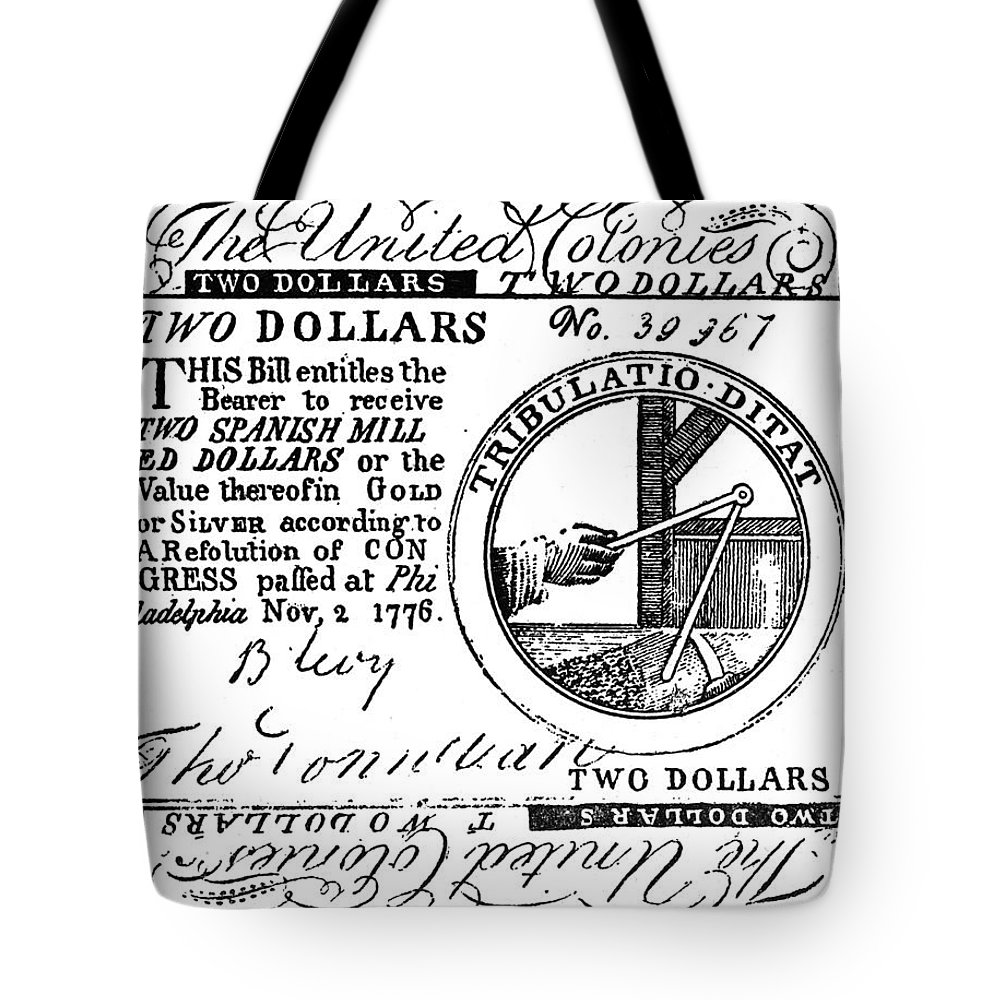 1776 Tote Bag featuring the photograph Continental Banknote, 1776 by Granger