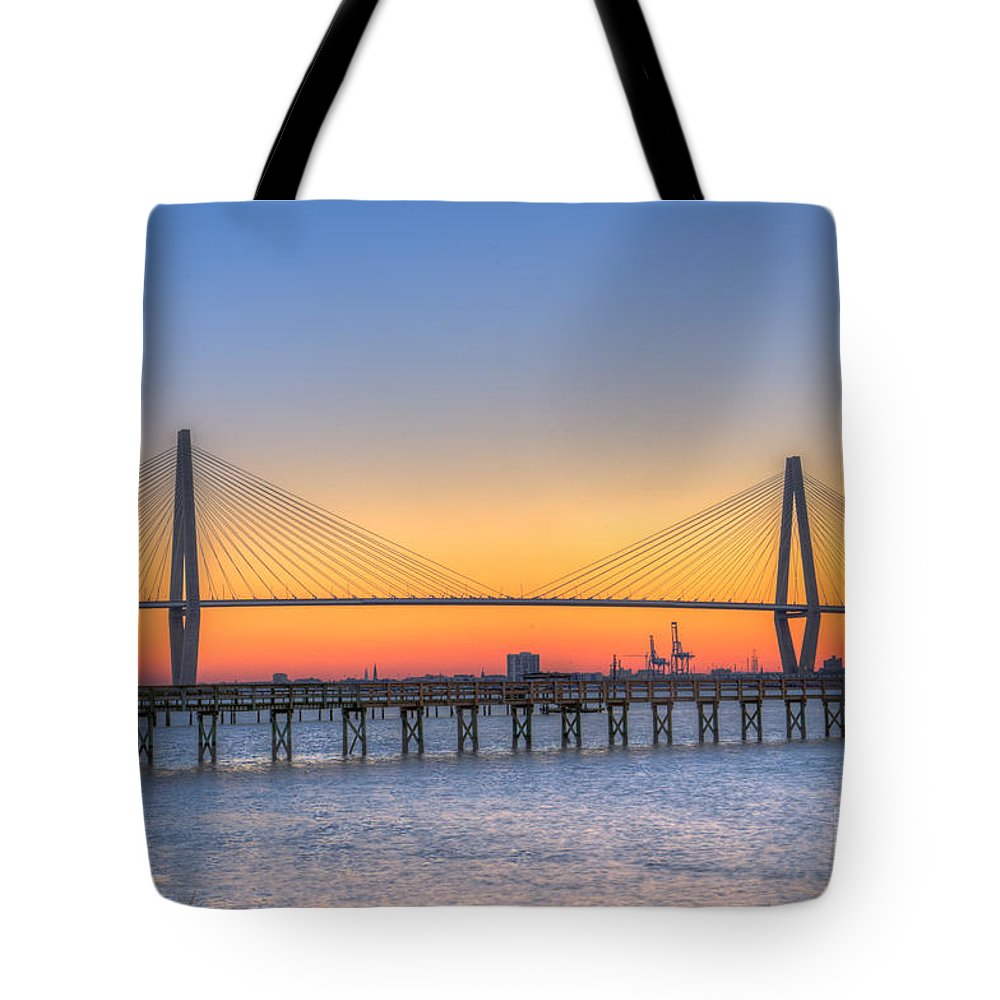 Sunset Tote Bag featuring the photograph Cooper River Bridge Orange Gloaming by Dale Powell