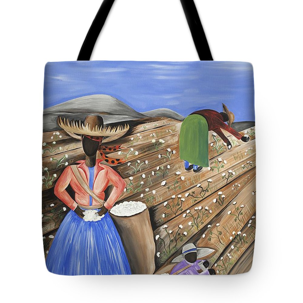 Gullah Art Tote Bag featuring the painting Cotton Pickin' Cotton by Patricia Sabree