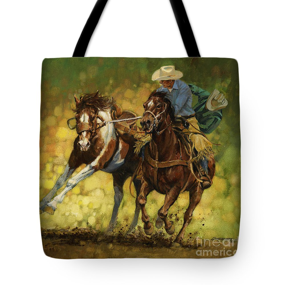 Don Langeneckert Tote Bag featuring the painting Rodeo Pickup by Don Langeneckert