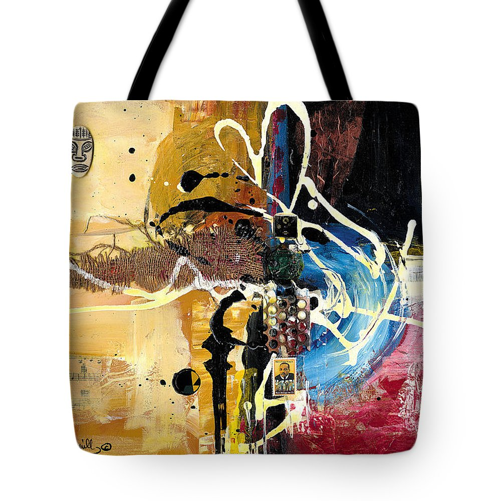 Everett Spruill Tote Bag featuring the painting Cultural Abstractions - Martin Luther King jr by Everett Spruill