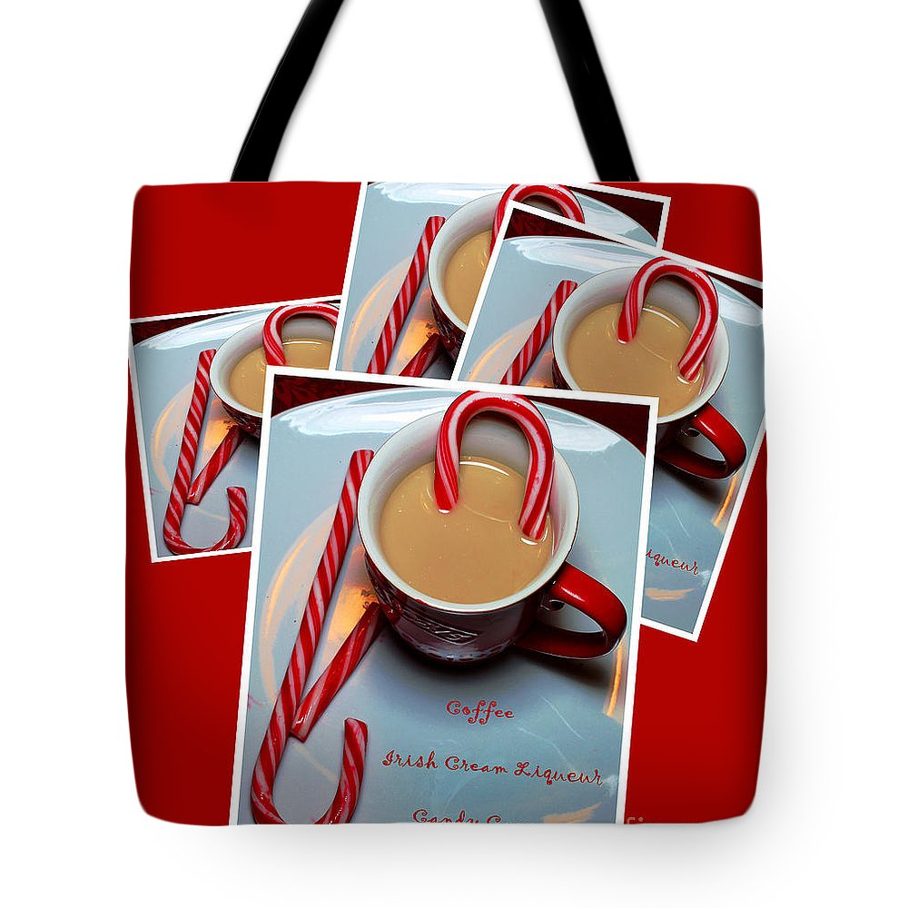 Cup Of Christmas Cheer Tote Bag featuring the photograph Cup Of Christmas Cheer - Candy Cane - Candy - Irish Cream Liquor by Barbara Griffin