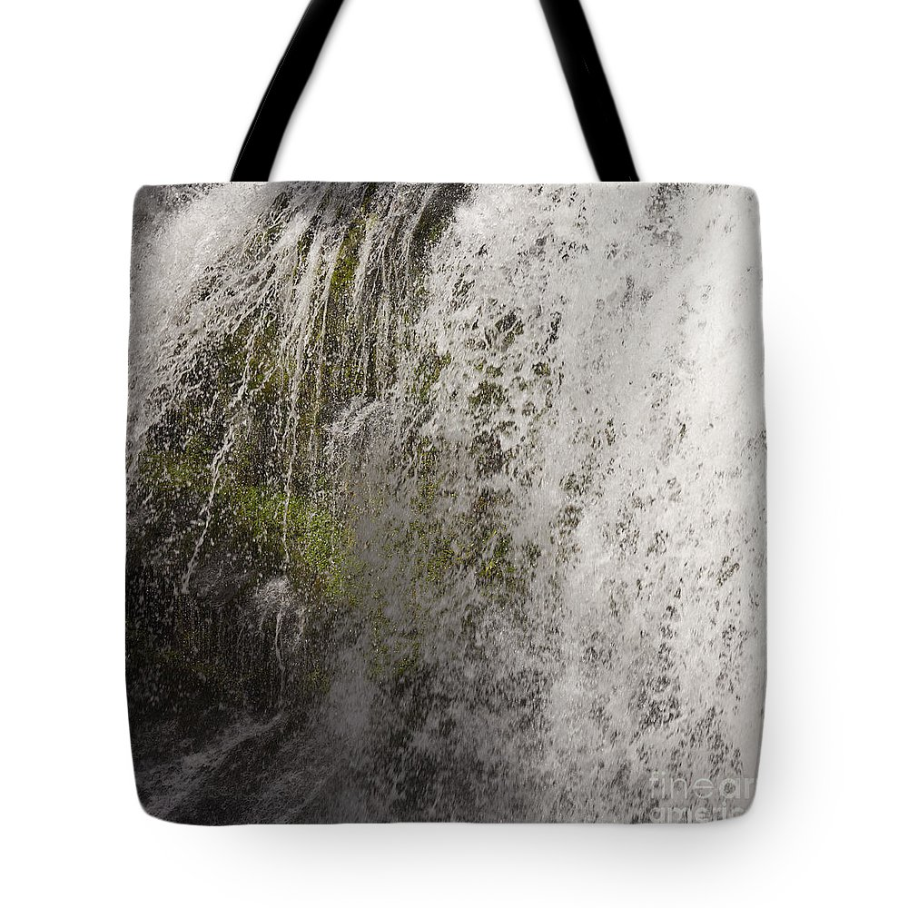Background Tote Bag featuring the photograph Curtain Of White Water Falling From Rocky Cliff by Stephan Pietzko