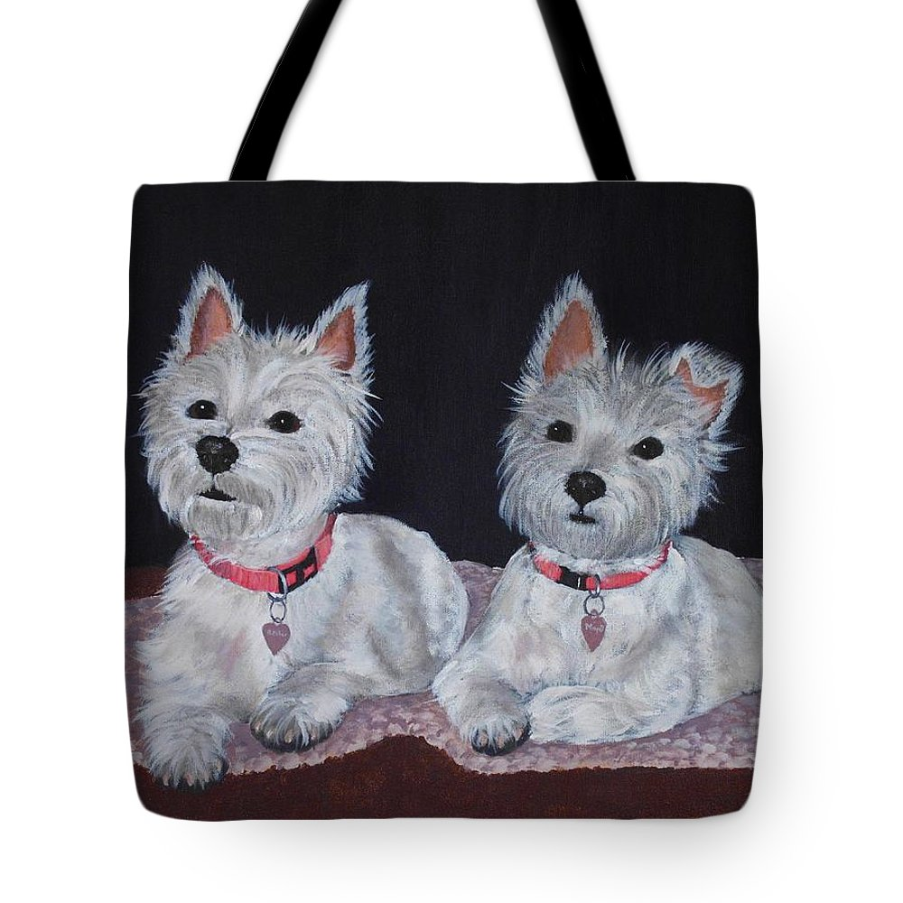 Pet Portrait Tote Bag featuring the painting 2 Cute by Anastasiya Malakhova