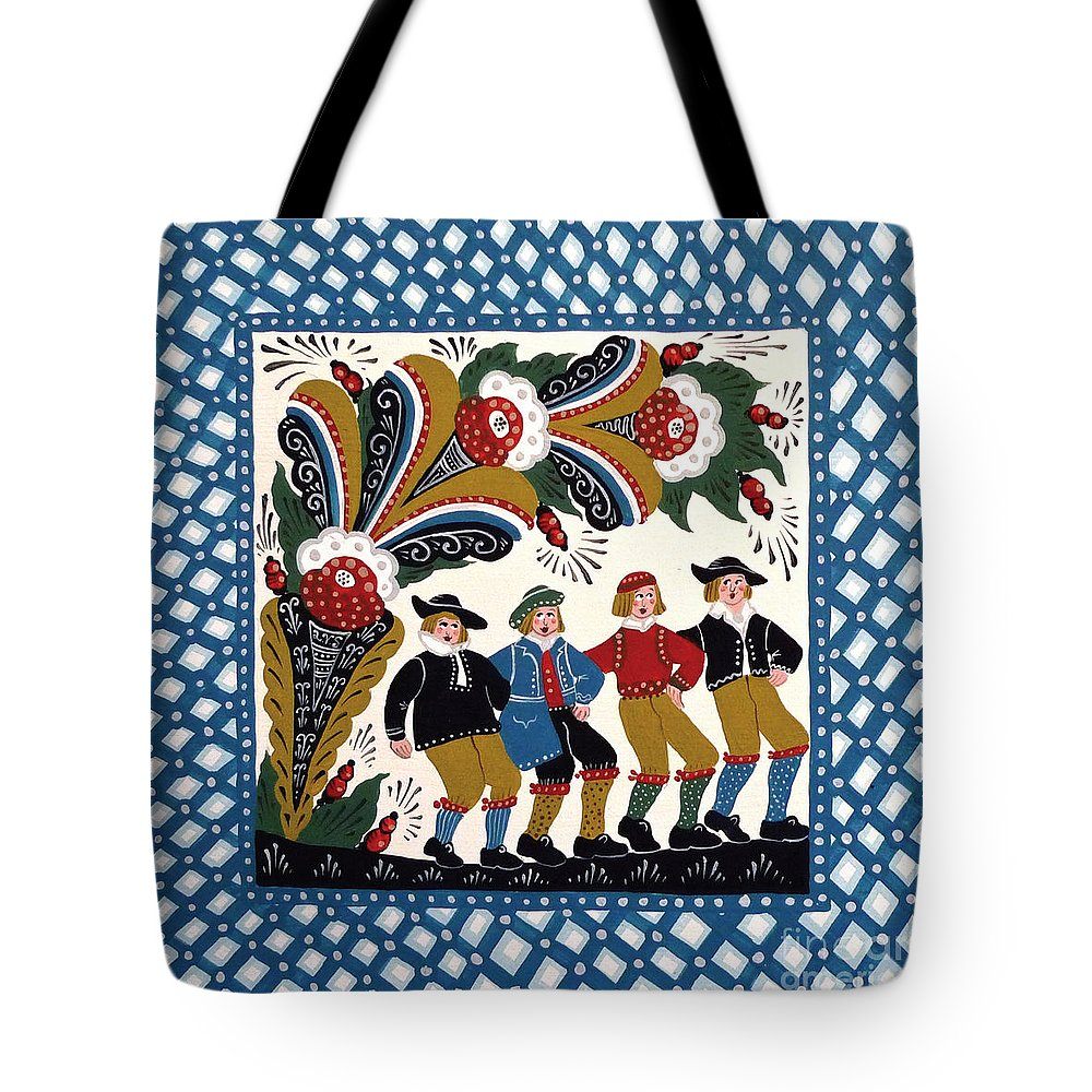 Dala Tote Bag featuring the painting Dancing Men by Leif Sodergren