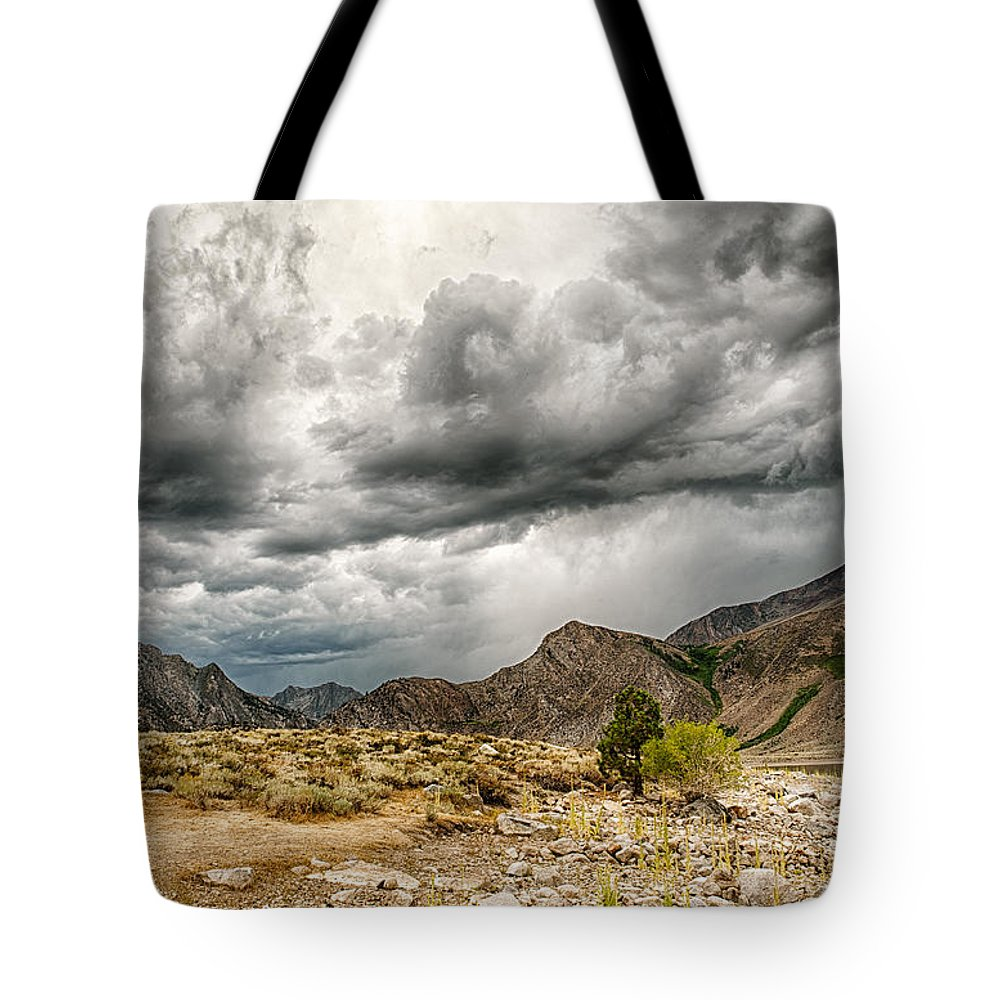 Clouds Tote Bag featuring the photograph Dark Skies At Grant Lake by Cat Connor