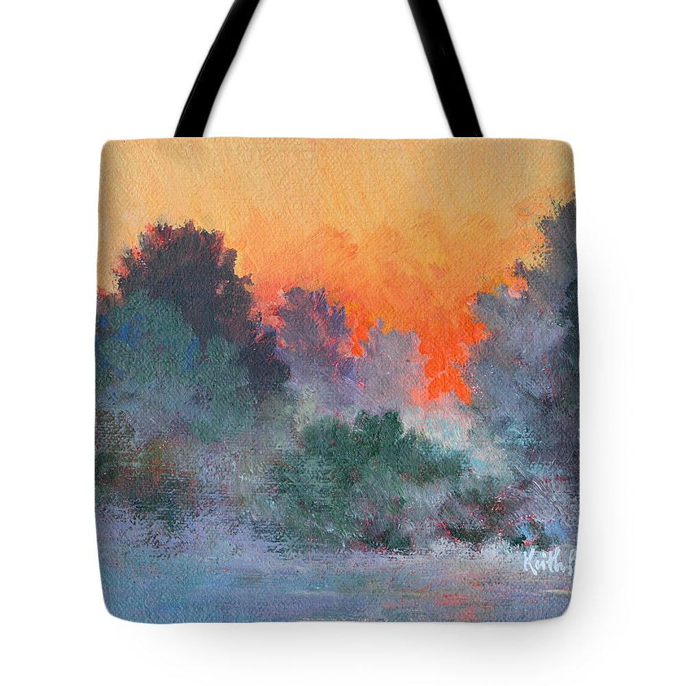 Impressionism Tote Bag featuring the painting Dawn Mist by Keith Burgess