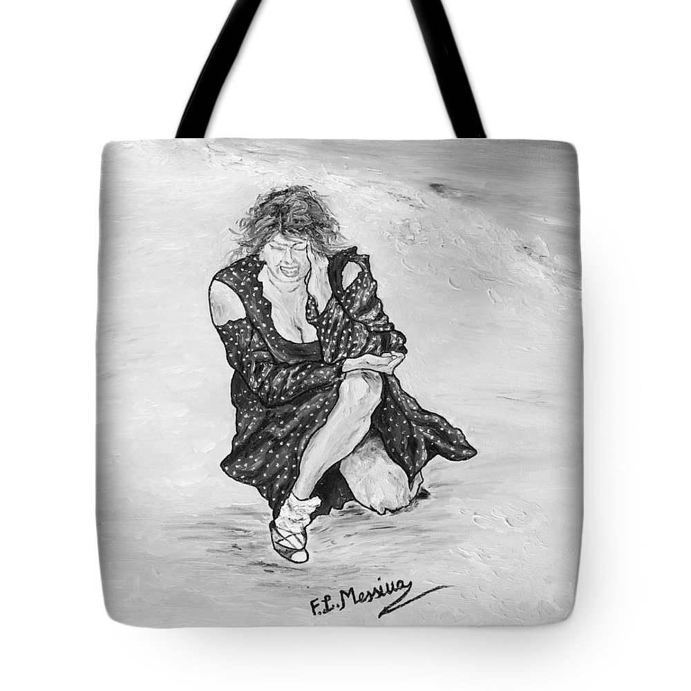 Drawing Tote Bag featuring the painting Disperazione by Loredana Messina