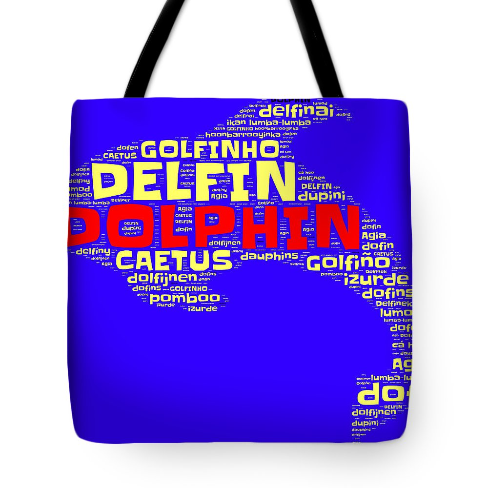 Dolphin Tote Bag featuring the painting Dolphin Word Cloud by Bruce Nutting