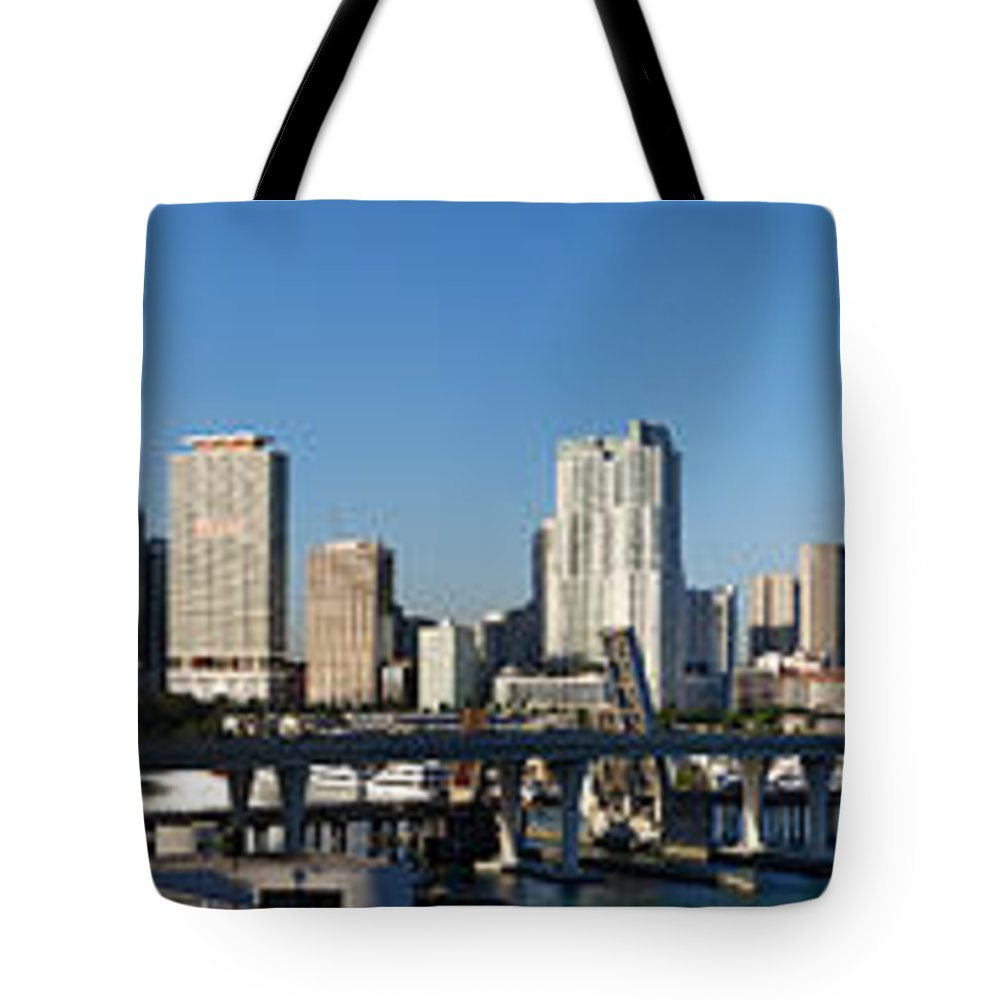 Miami Tote Bag featuring the photograph Downtown Miami Skyline by Georgia Fowler
