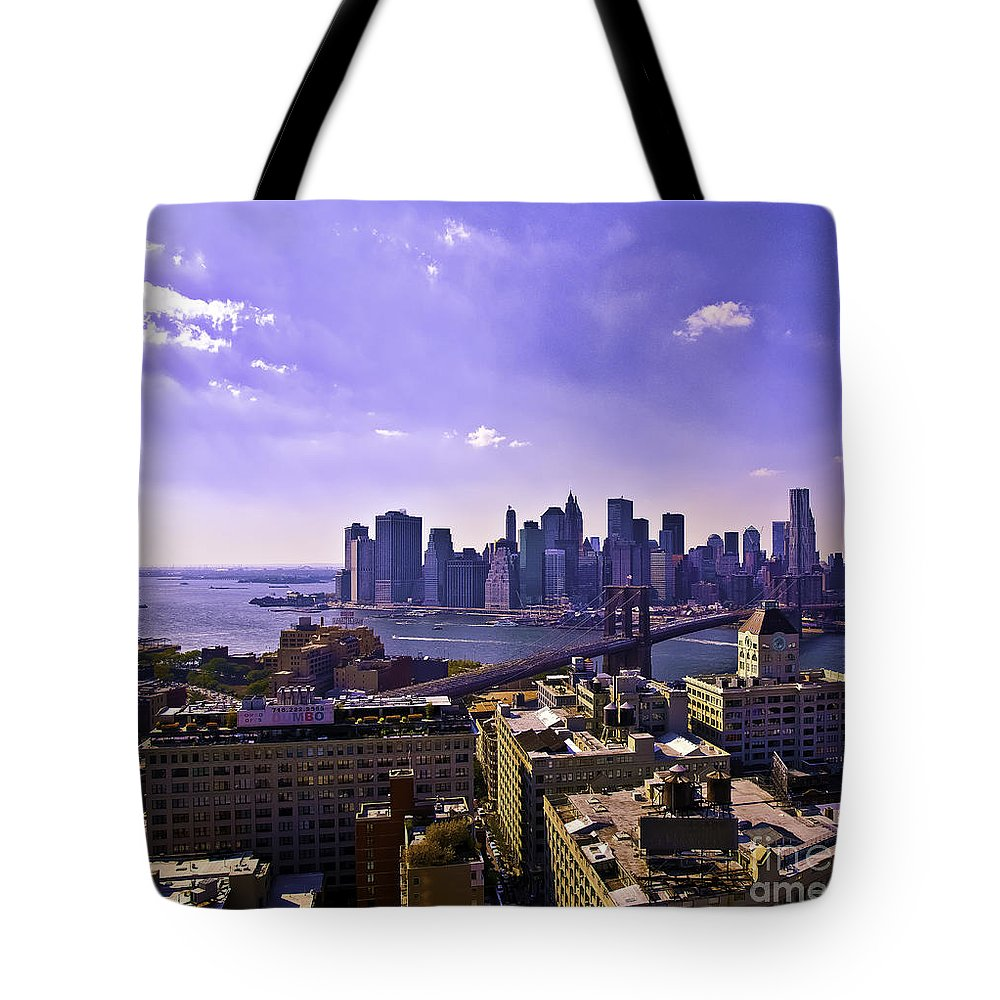 Dumbo Tote Bag featuring the photograph Dumbo View Of Lower Manhattan by Madeline Ellis