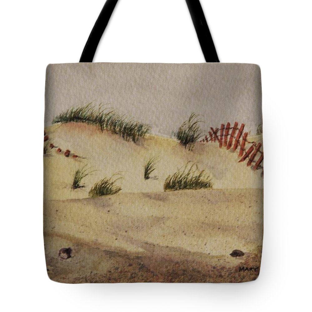 Sand Tote Bag featuring the painting Dunes by Mary Ellen Mueller Legault