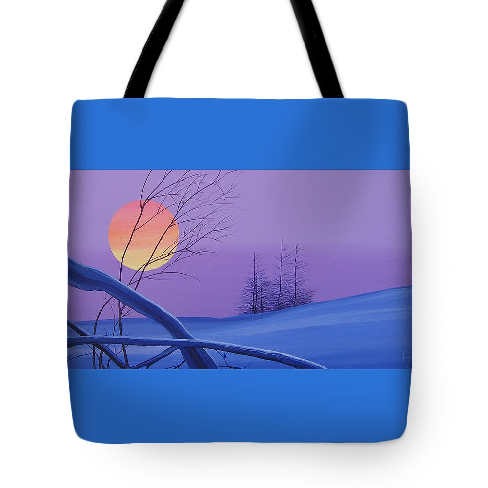 Mountains Tote Bag featuring the painting Silent Snow by Hunter Jay