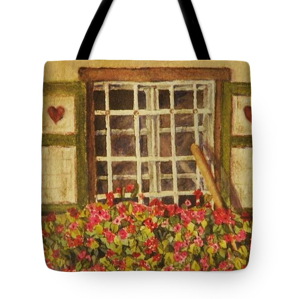 Rural Tote Bag featuring the painting Farm Window by Mary Ellen Mueller Legault