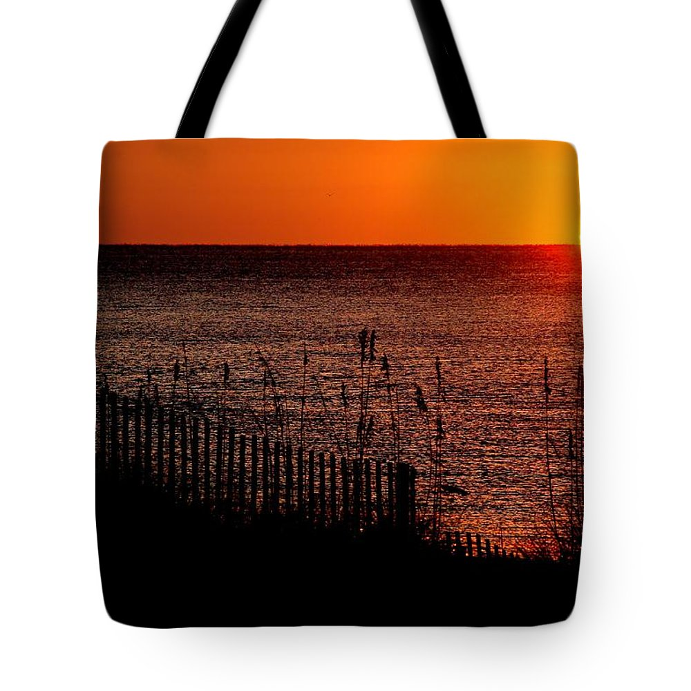 Alabama Tote Bag featuring the digital art Fence And The Sun by Michael Thomas