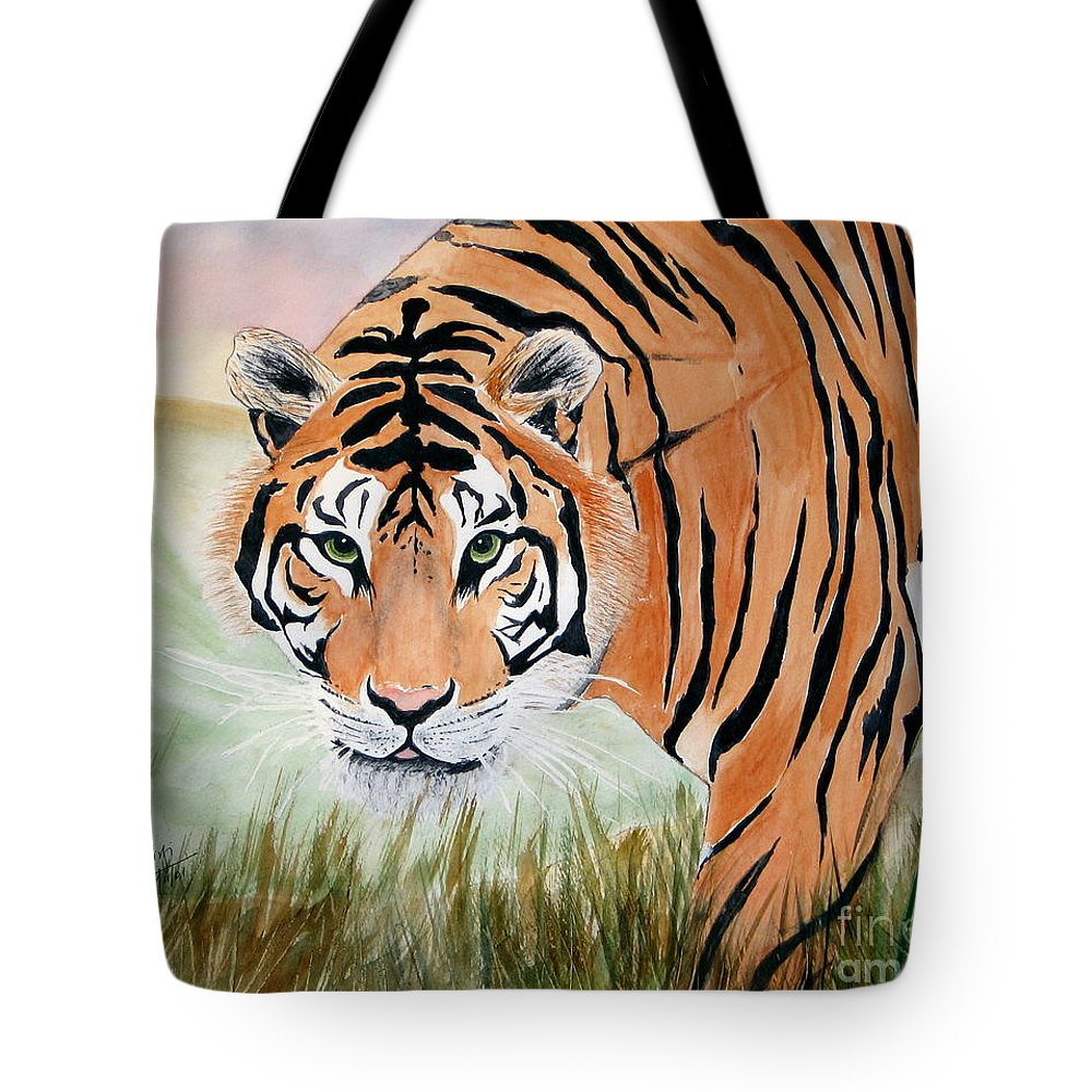 Animal Tote Bag featuring the painting Ferocious by Mohamed Hirji