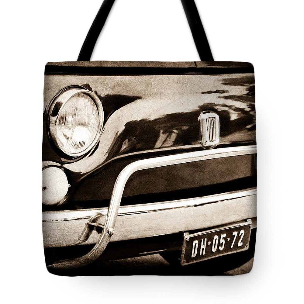 Fiat 500 L Front End Tote Bag featuring the photograph Fiat 500 L Front End by Jill Reger