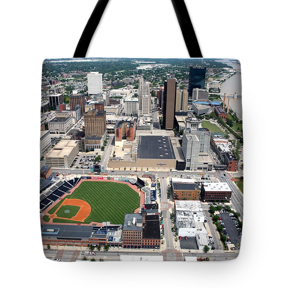 Aerial Tote Bag featuring the photograph Fifth Third Field Toledo Ohio by Bill Cobb