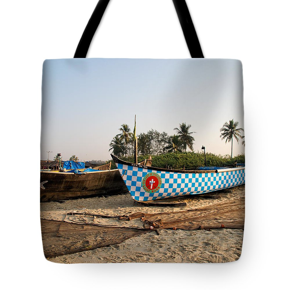 Boats Tote Bag featuring the photograph Fishing Boats by Carol Ailles
