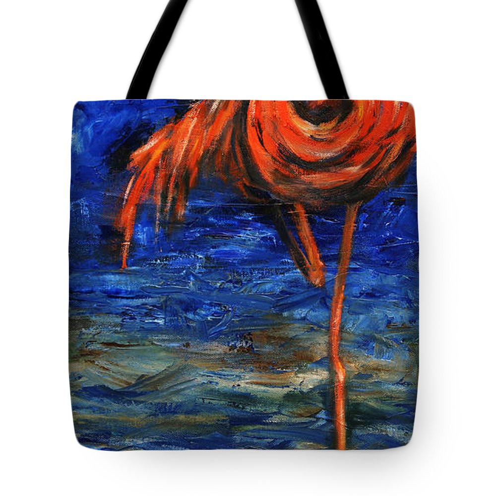 Flamingos Tote Bag featuring the painting Flamingo by Xueling Zou