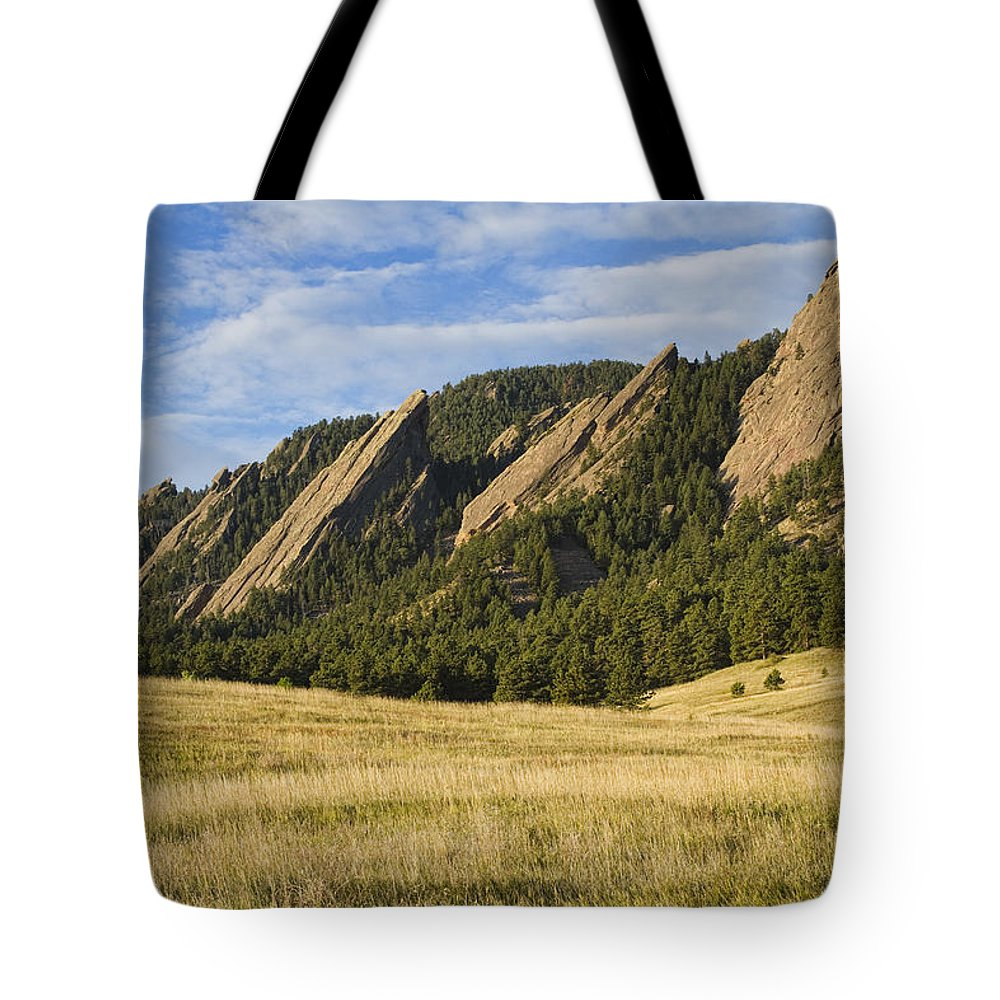 'boulder Photos' Tote Bag featuring the photograph Flatirons With Golden Grass Boulder Colorado by James BO Insogna
