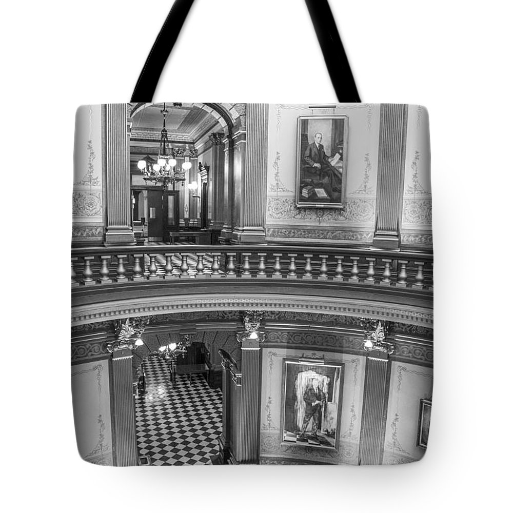 Michigan Tote Bag featuring the photograph 2 Floors Black And White Michigan State Capitol by John McGraw
