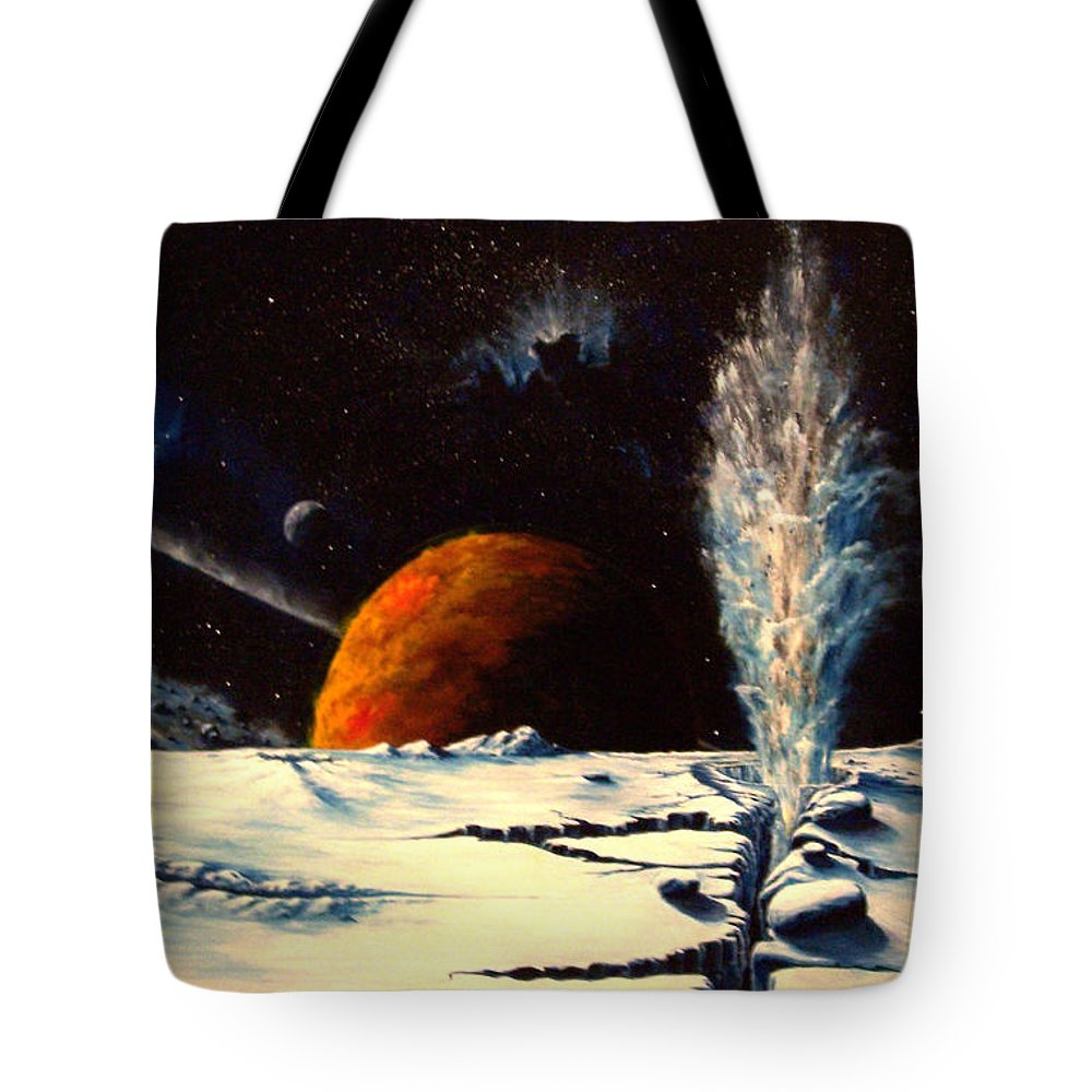 Landscape. Geyser Tote Bag featuring the painting Frozen Geyser by Murphy Elliott