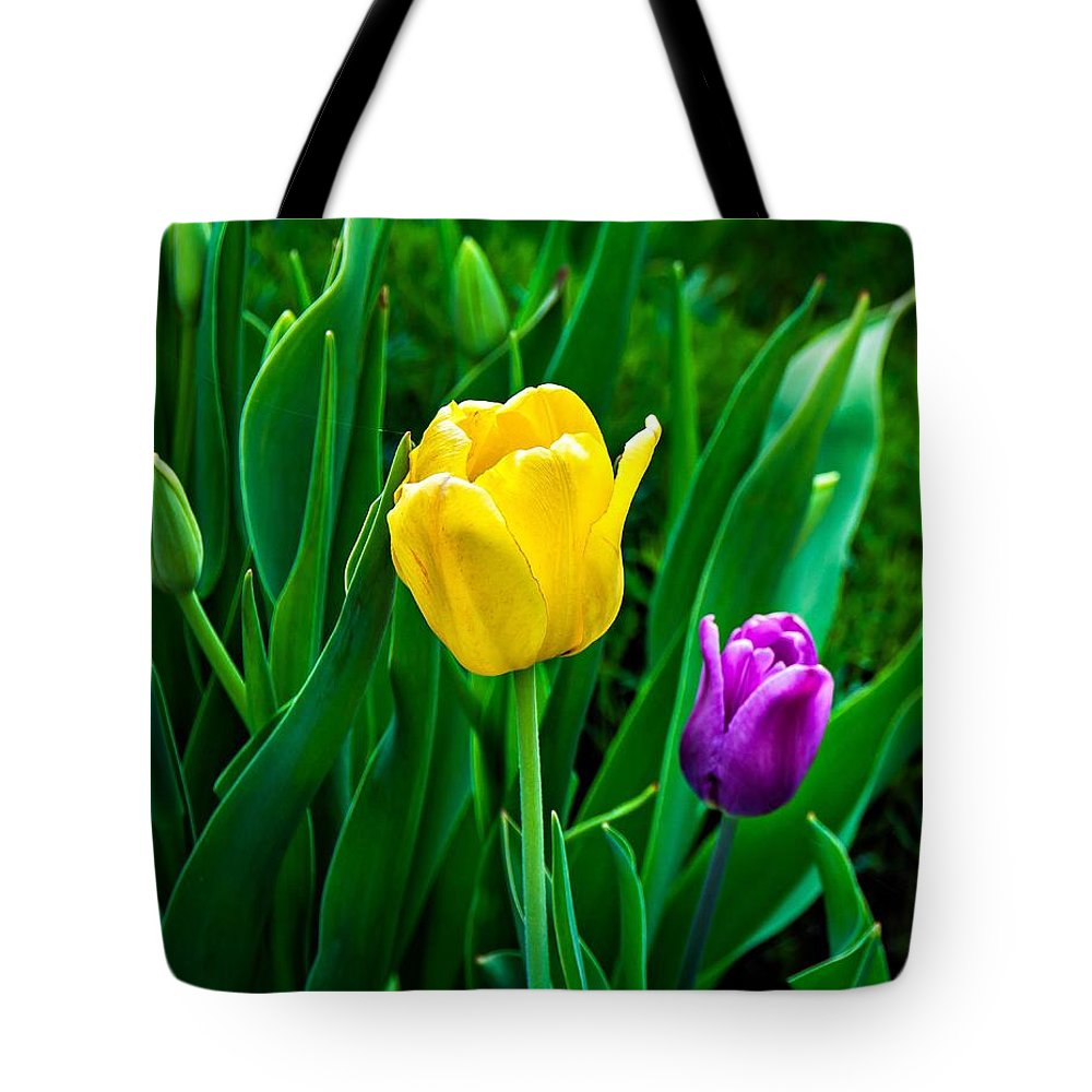 Tulip Tote Bag featuring the photograph Garden Party by Steve Harrington