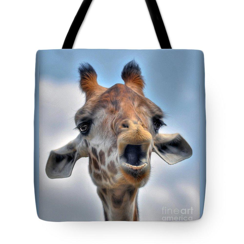 Giraffe Tote Bag featuring the photograph Giraffe by Savannah Gibbs