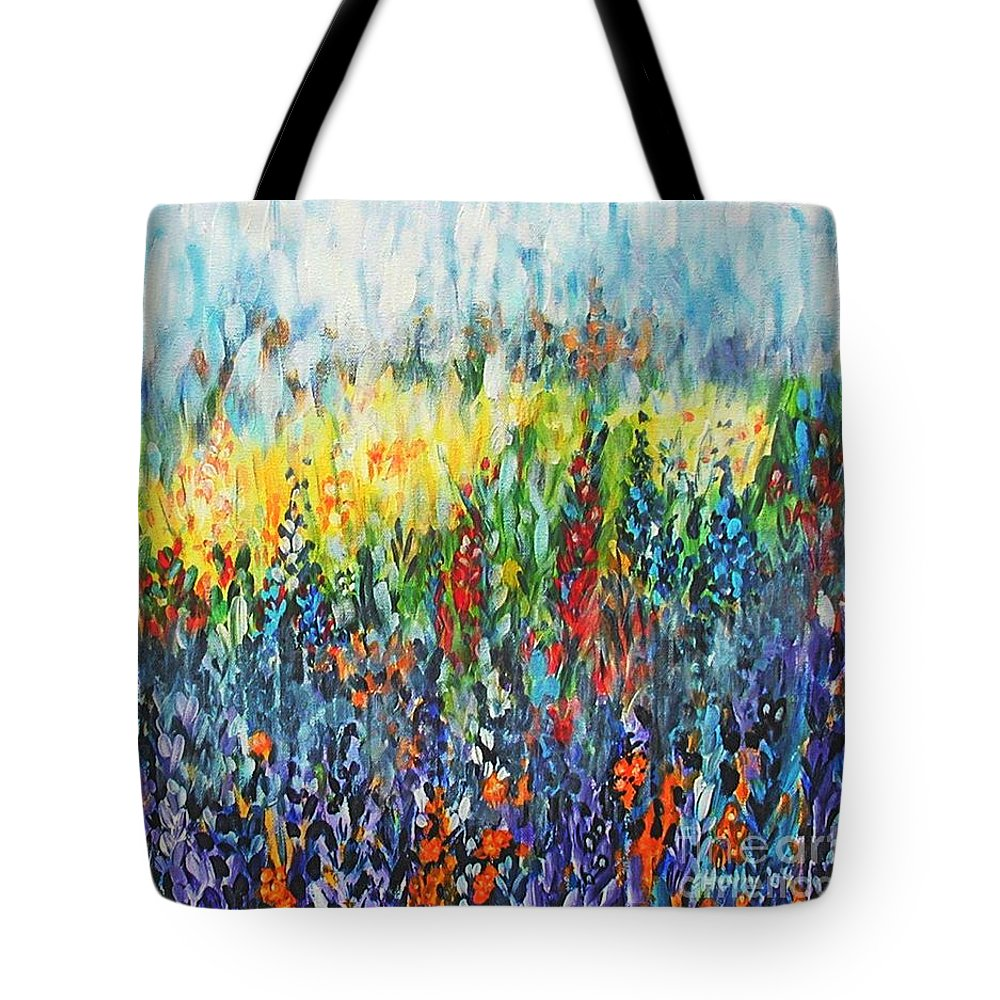 Glowy Clearing Tote Bag featuring the painting Glowy Clearing by Holly Carmichael