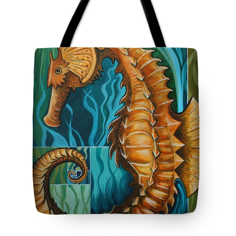 Seahorse Tote Bag featuring the painting Golden Seahorse by Kate Fortin