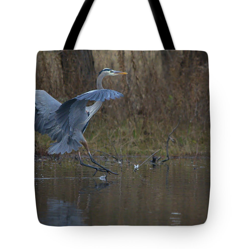Roy Williams Tote Bag featuring the photograph Great Blue Water Landing by Roy Williams