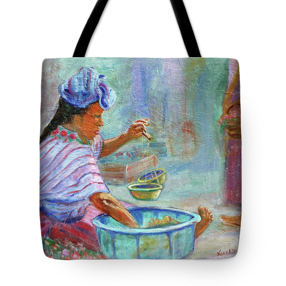 Figurative Tote Bag featuring the painting Guatemala Impression Iv by Xueling Zou