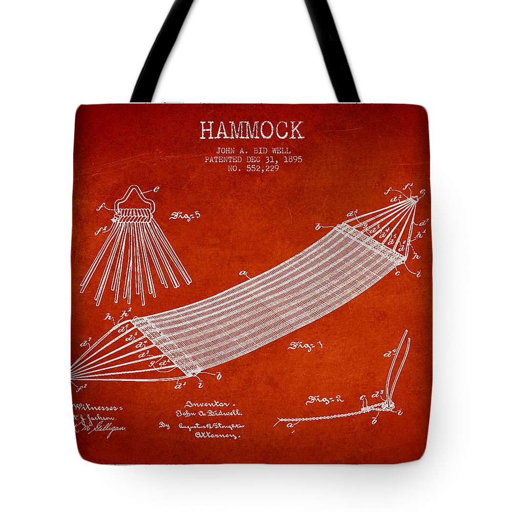 Hammock Tote Bag featuring the digital art Hammock Patent Drawing From 1895 by Aged Pixel