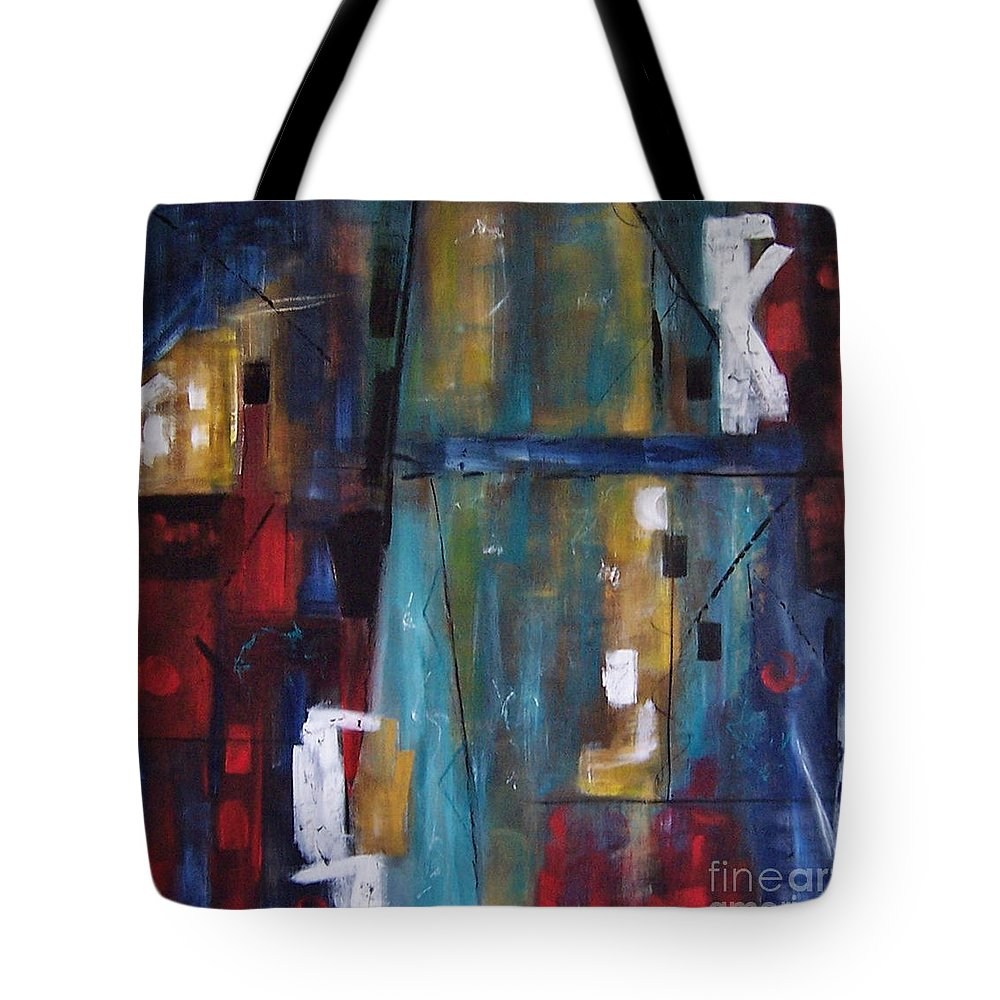 Paintings Tote Bag featuring the painting Hi Rise by Karen Day-Vath