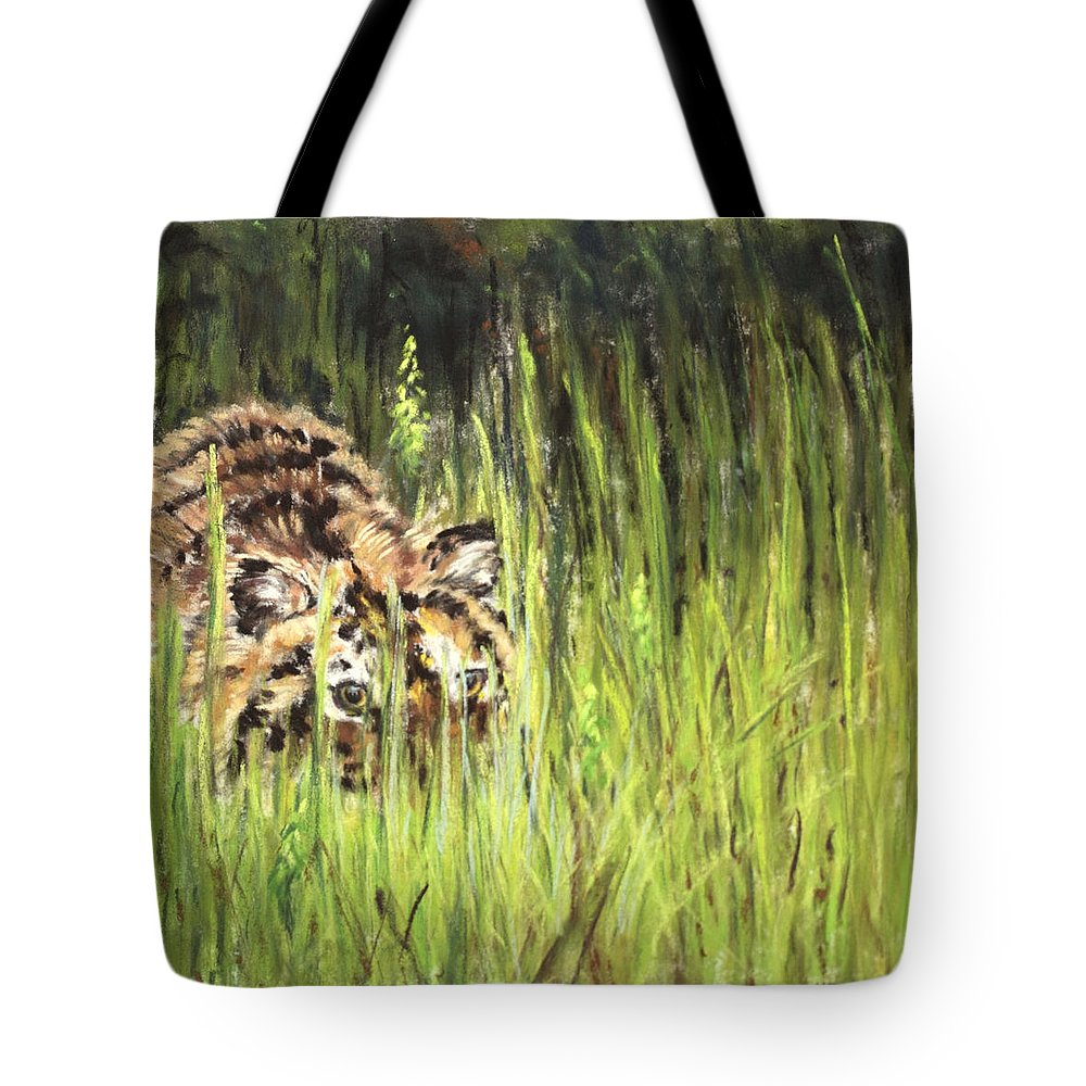 Tiger Tote Bag featuring the painting Hide And Seek by Sandy Brooks