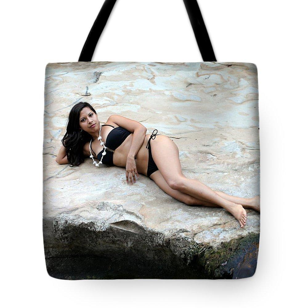 Girl Tote Bag featuring the photograph Hispanic Woman Waterfall by Henrik Lehnerer