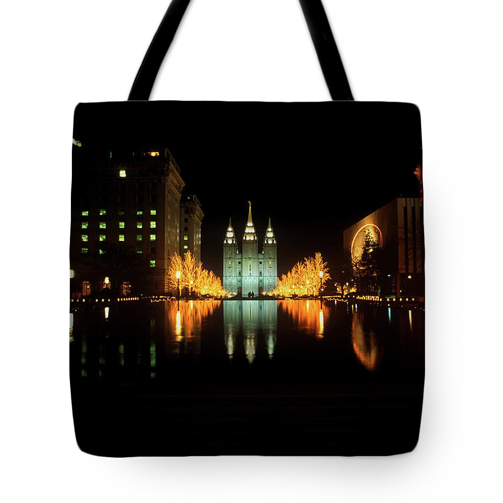 Photography Tote Bag featuring the photograph Historic Temple And Square In Salt Lake by Panoramic Images