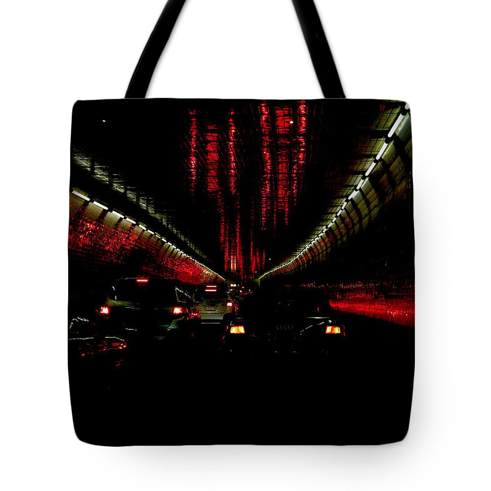 Holland Tote Bag featuring the photograph Holland Tunnel Lights by Larry Jost