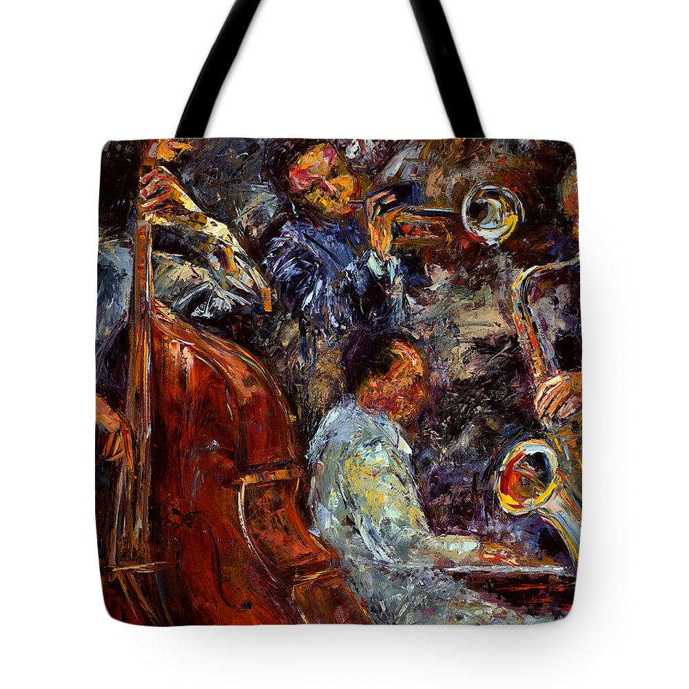 Jazz Tote Bag featuring the painting Hot Jazz 3 by Debra Hurd