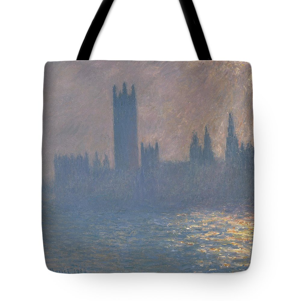 Claude Monet Tote Bag featuring the painting Houses Of Parliament by Claude Monet