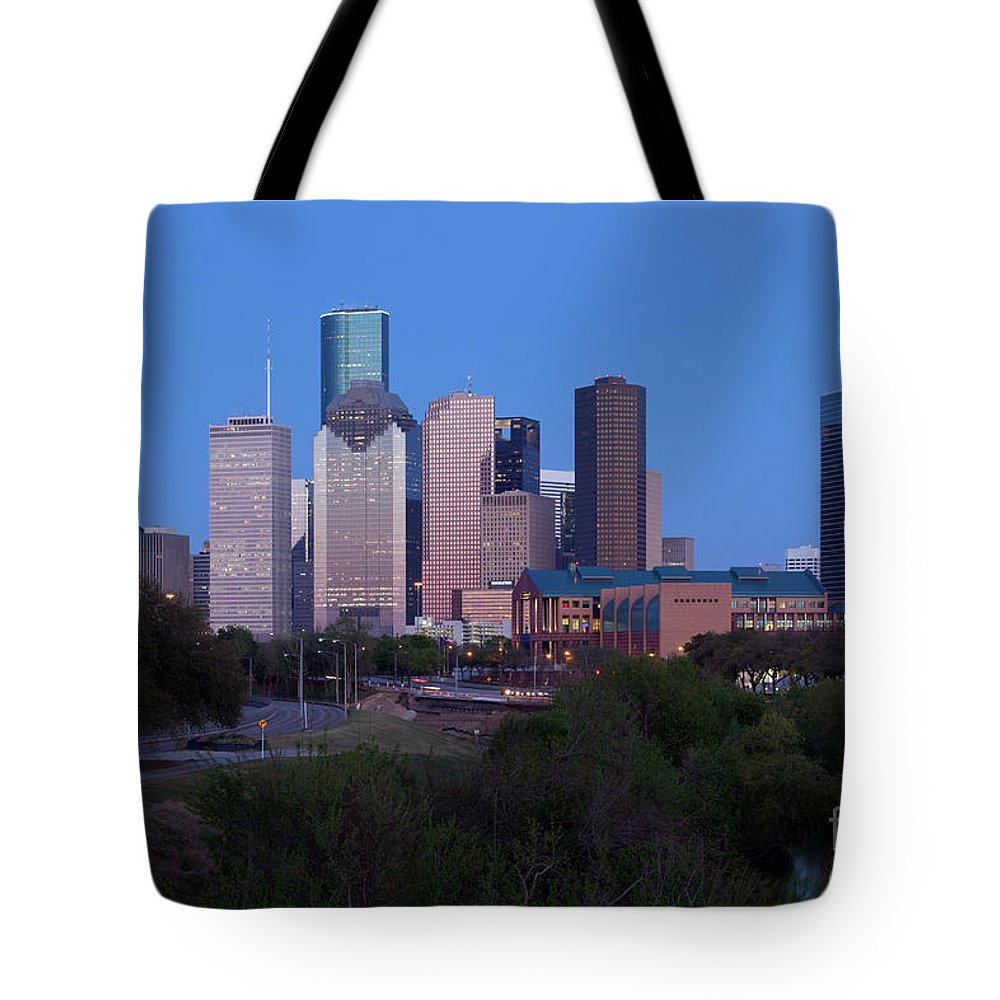 Houston Tote Bag featuring the photograph Houston Skyline At Dusk by Bill Cobb