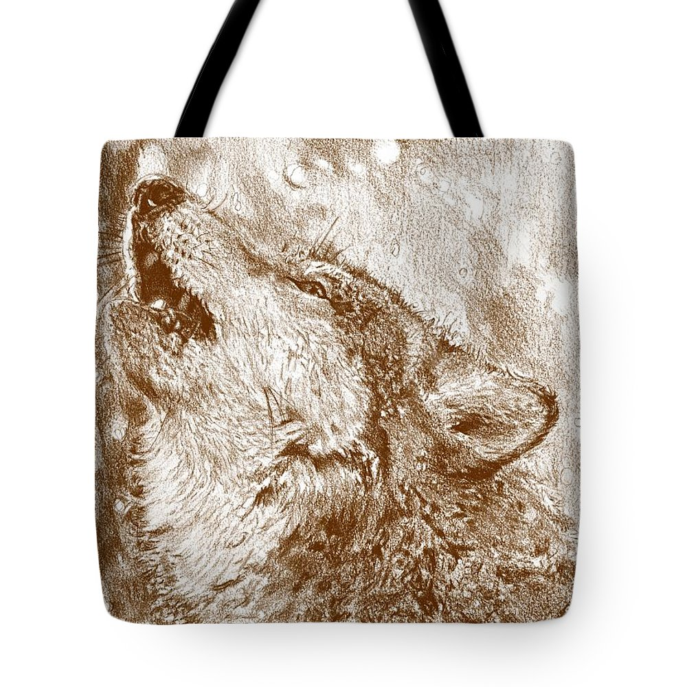 Mccombie Tote Bag featuring the drawing Howling Gray Wolf by J McCombie