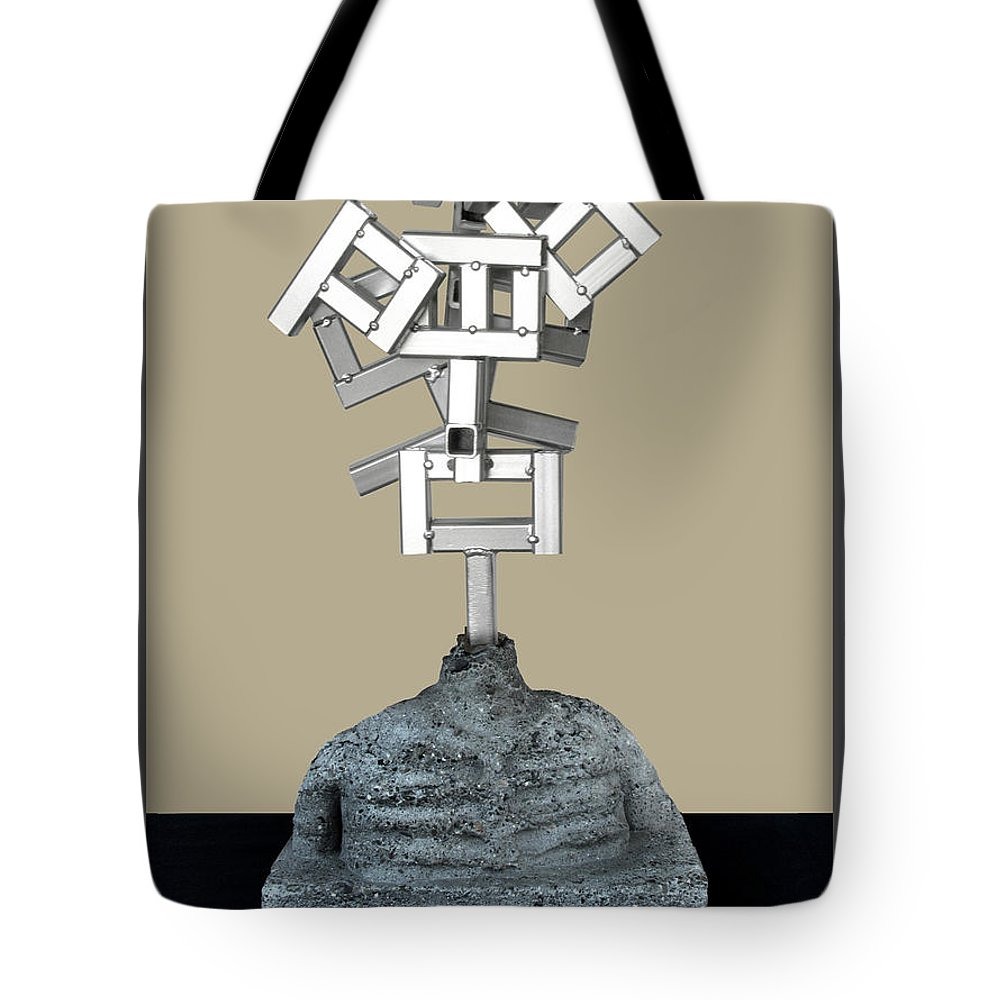 Identity Tote Bag featuring the sculpture Identity Crisis 03 by Peter Piatt
