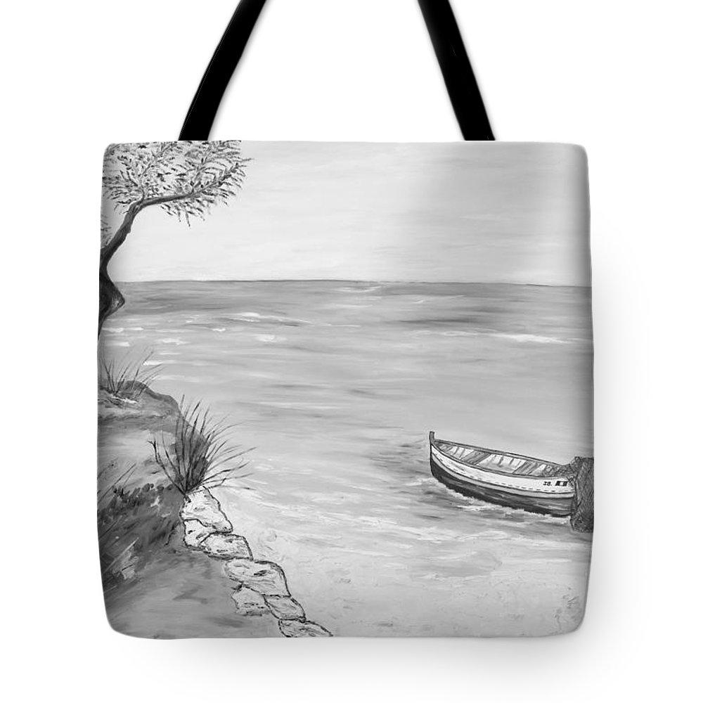 �loredana Messina� Tote Bag featuring the painting Il Pescatore Solitario by Loredana Messina