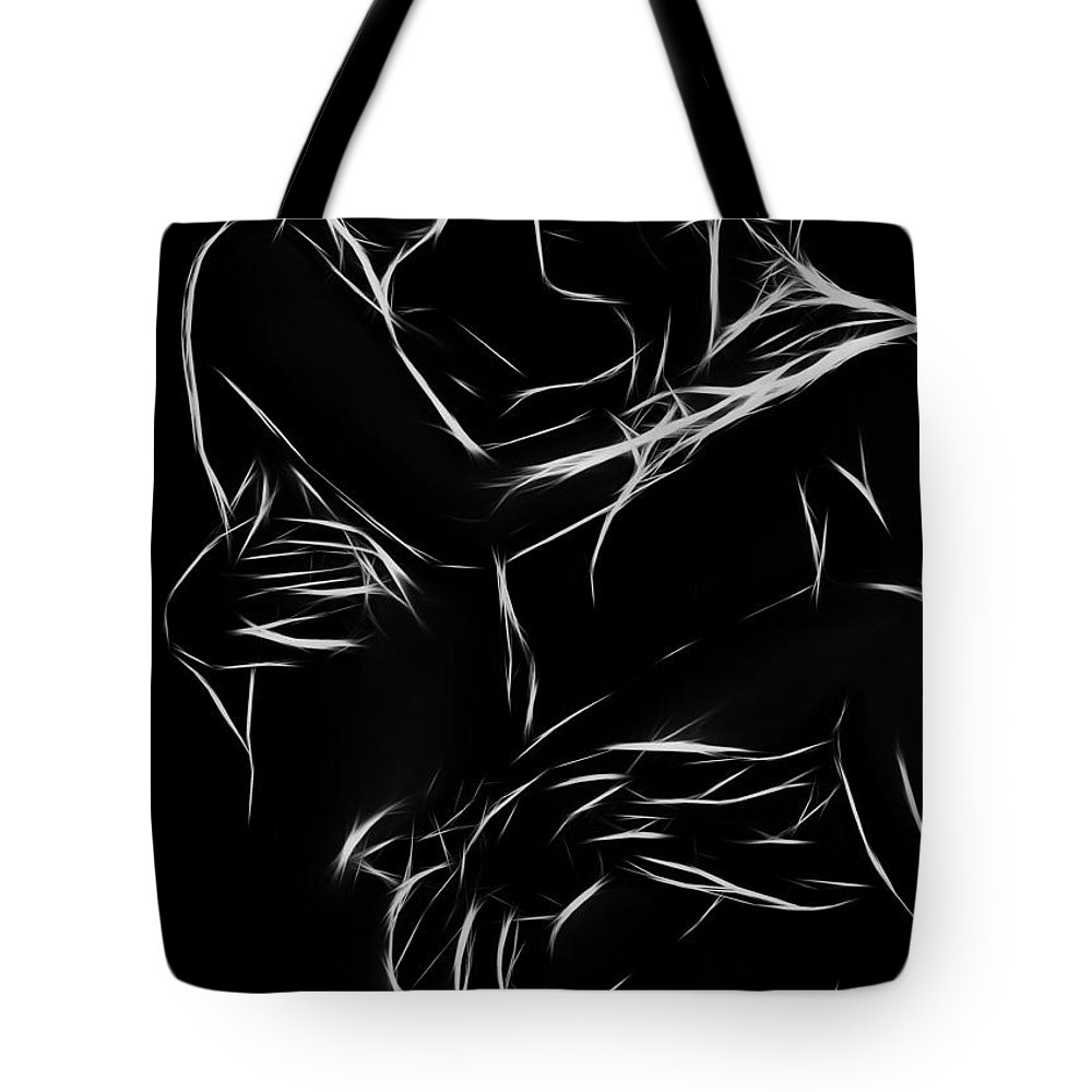 Couple Lover Lovers Arms Woman Man Female Male Nude Naked Black White Abstract Expressionism Erotic Tote Bag featuring the painting In Your Arms by Steve K