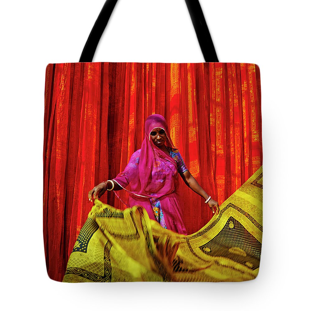 Working Tote Bag featuring the photograph India, Rajasthan, Sari Factory by Tuul & Bruno Morandi