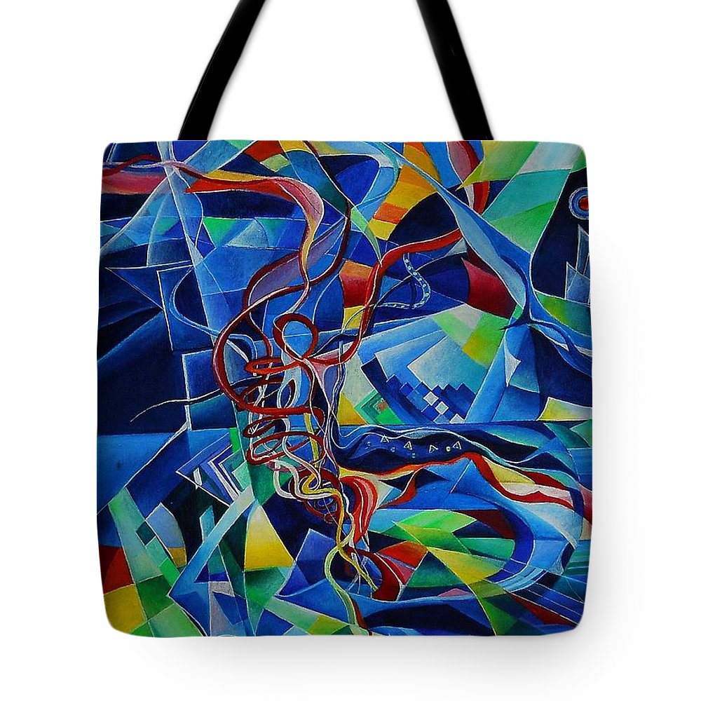 Johann Sebastian Bach Toccata And Fugue D Minor Acrylics Abstract Music Pens Gems Tote Bag featuring the painting Inside The Cathedral by Wolfgang Schweizer